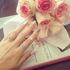 cute, fashion, flowers, girl, girly, gold, golden, hand, lovely, luxury, manicure, pastel, pink, roses, rosy, silver, sweet, woman