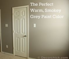The perfect smokey grey paint color (a custom color) from decorchick.com.