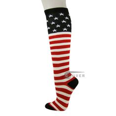 USA Flag Stars and Stripes Knee High American Pride Flag Socks[6 Pairs]