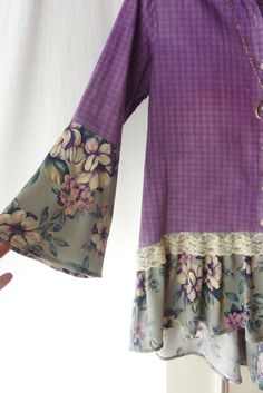 One of a kind, up-cycled flannel shirt, vintage medallion, bell sleeves. This shirt was made from a gently used flannel shirt (that was dyed lavender) and vintage floral Diy Clothing, Sewing Clothes, Festival Tops, Altered Couture, Shirt Refashion, Flannel Shirt, Diy Fashion, Child Fashion, Hippie Man