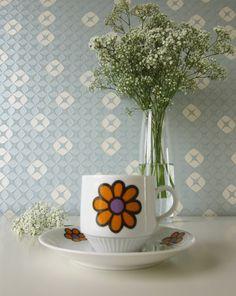 Vintage Cup and Saucer by Mitterteich Bavaria Germany with Orange Flower 70s door Vantoen op Etsy