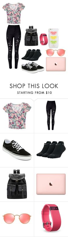 """hi"" by jamwich ❤ liked on Polyvore featuring Grayson, WithChic, Vans, NIKE, Ray-Ban, Fitbit and Kate Spade"