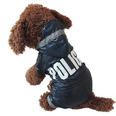 Cute Blue Police Man Style cat Dogs Raincoat Dogs Clothing^.XL >> Additional details found at the image link  : Cat sweater