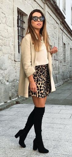 #fall #outfits women's brown blazer,white tank top,black and brown skirt and pair of black knee high boots