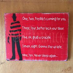 x Freddy Krueger Silhouette with Poem Painted Wood Sign. Nightmare on Elm Street, Horror Halloween Signs, Holidays Halloween, Scary Halloween, Halloween Themes, Halloween Crafts, Halloween Decorations, Halloween Party, Halloween Stuff, Horror Crafts
