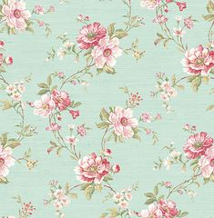 August Grove Matson Summer Trail L x W Wallpaper Roll Color: Pink/Green/White Classic Wallpaper, Wallpaper Roll, Flower Wallpaper, Elegant Flowers, Vintage Flowers, Beautiful Bouquets, Impression Textile, Shabby Chic, Flower Doodles