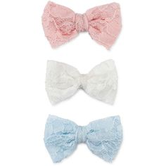 Carole 3-pc. Lace Hair Bows Set (400 RUB) ❤ liked on Polyvore featuring accessories, hair accessories, bows, hair, fillers, hair bow accessories, lace hair bows, lace hair accessories and hair bows