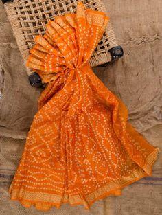 Orange silk bandhej saree
