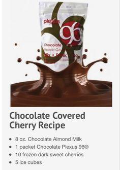 Chocolate covered cherry smoothie  ORDER YOUR PLEXUS 96 at shopmyplexus.com/coopercynthia  #plexus #plexus96
