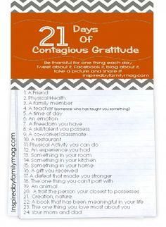 gratitude list 21 days of thanksgiving