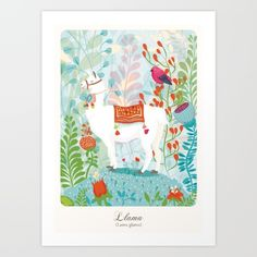 Llama+Art+Print+by+The+Wildest+Little+Things+-+$17.68