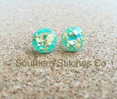 Earrings Mint Gold Leaf Faceted Earrings Stud Earrings 11.5 MM Boho Jewelry Bridesmaids Gifts