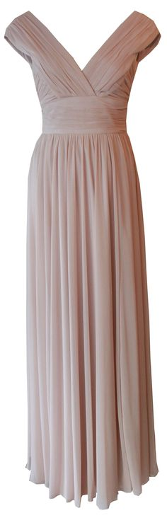 Draped Portrait Neck Gown by Matthew Eager in Nude - bridesmaid dress