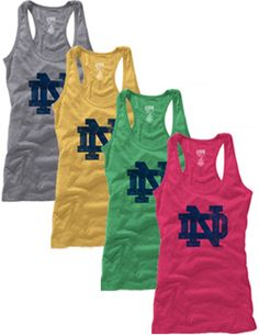 This great tank top features the Notre Dame interlocking logo and comes in 4 colors-grey, gold, green, and pink!