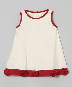 Take a look at this Red & Cream Organic Floral Babydoll Dress - Infant & Toddler by Kids Organic on #zulily today!