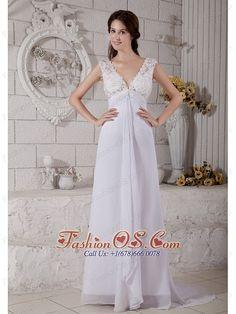 Simple Empire V-neck Brush Beach Wedding Dress Train Chiffon Lace  Item Code: HLEN0725T059FOS     ml