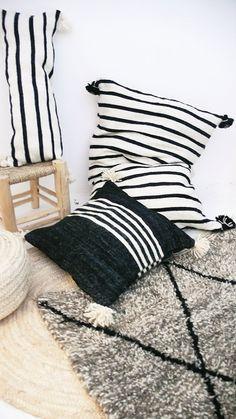 Giant Wool Floor Cushion - Black Pompoms - Black Stripes