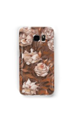 """""""White roses, floral pattern, earth shades"""" Samsung Galaxy Cases & Skins by clipsocallipso 