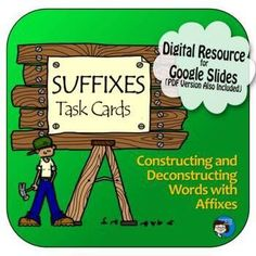 Suffixes Task Cards Digital Resource - Distance Learning | TpT