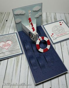 """""""Navy"""" Explosion Box (Note to self: this would be a great card/box for my BIL's birthday) (Site: general card info; site can be translated) Diy Birthday For Mom, Birthday Ideas, Birthday Gifts, Exploding Box Card, Magic Box, Marianne Design, Pop Up Cards, Diy Box, Scrapbook Paper Crafts"""
