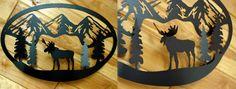 iron moose signs | Moose-R-Us.Com Large Black Iron Moose Mountain Tree Silhouette Oval 3D ...