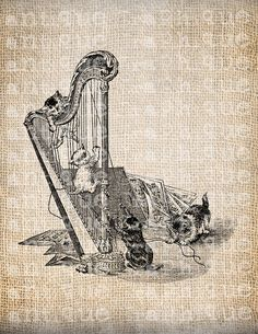 Antique Music Musician Harp Victorian by AntiqueGraphique on Etsy, $1.00