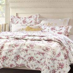 Shabby Chic Vintage Rose 3-piece Cotton Quilt Set