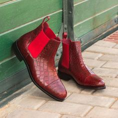 Custom Made Goodyear Welted Chelsea Boot Classic in Red Genuine Alligator From Robert August. Create your own custom designed shoes. Calf Leather, Red Leather, Me Too Shoes, Men's Shoes, Custom Design Shoes, Only Shoes, Goodyear Welt, Dress With Boots, Dream Shoes