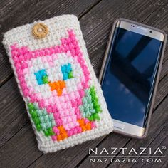 Crochet Owl Cell Phone Case - DIY Free Pattern and YouTube Tutorial - by Donna Wolfe from Naztazia