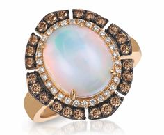 Ring in 14k Strawberry Gold with 2.75 ct. Neopolitan Opal and 0.59 ct. t.w. Vanilla Diamonds and Chocolate Diamonds, $1,999; Le Vian