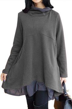 Cowl Neck Patchwork Grey Loose Fit Sweatshirt