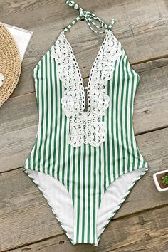 a162dfcfa1d0 Green Stripe Lace One-Piece Swimsuit.c
