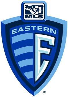 MLS Eastern Conference Soccer Primary Logo (2002) - E on a blue Shield with updated MLS logo