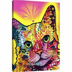 "Canvas wall art with a graffiti-inspired cat motif. Made in the USA.    Product: Wall artConstruction Material: Cotton canvas and pine woodFeatures:  Made in the USAReady to hang Dimensions: Medium: 26"" H x 18"" W x 0.75"" D Large: 40"" H x 26"" W x 0.75"" D"