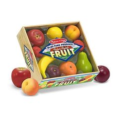 """Play-Time Produce Fruit - Play Food Picked at the peak of ripeness, these realistically sized fruits come packed with vitamin """"P"""" for play! Brand: Melissa and Doug years Play Kitchens, Fruits Online, Pretend Kitchen, Toy Kitchen, Kitchen Stuff, Play Food Set, Melissa & Doug, Pretend Play, Pretend Food"""