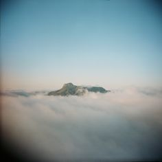 Catherdral Mountain at sunrise, surrounded by low clouds.  #westtexas #alpinetexas #holga #film #peaceful #meditation #cathedralmountain