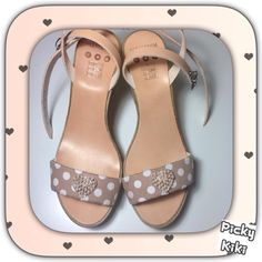Genuine leather and pearl heart Trendy Shoes, Polka Dots, Walking, Wedges, Pearls, Sandals, Chic, Lady, Leather