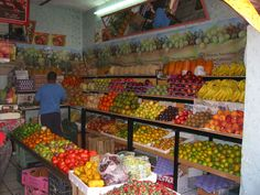 Typical fruit and vegetable market in Ajijic, Mexico.