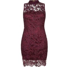 GILLIAN Purple High Neck Lace Pencil Dress ($205) ❤ liked on Polyvore featuring dresses, evening wear dresses, purple prom dresses, pencil cocktail dress, purple cocktail dress and purple pencil dress