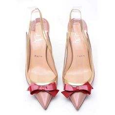 Christian Louboutin Suspendo Sling 85 Patent Leather - Size 8.5... (€495) ❤ liked on Polyvore featuring shoes, pumps, взуття, red shoes, red bow shoes, red bow pumps, nude patent leather pumps and nude pumps