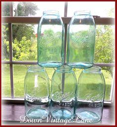 Blue Ball Mason Half Gallon SLOPED SHOULDER Jars Vintage Set of 5