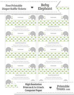 Free Pastel Light Green  Polka Dot Baby Elephant Diaper Raffle Tickets