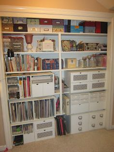 CRAFTY STORAGE: Elizabeth's closet.   The closet will be my last thing  to tackle.
