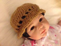 Soft Crochet Hat - Chocolate - Newborn