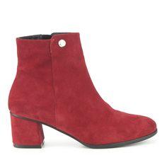 BOTÍN TACÓN RETRO PIEL FOSCO Outlet, Ankle, Shoes, Fashion, Red, Silver, Winter, Fur, Women