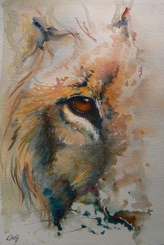 lion - watercolour by Leslie McKenzie, also would work with my dog's beautiful face/eyes