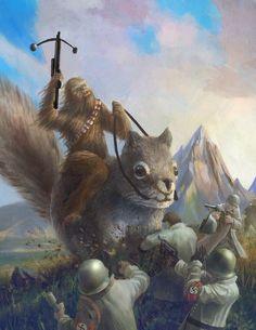 Chewbacca fighting Nazis on the back of a Giant Squirrel