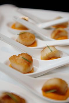 Our Famous Pan Seared Sea Scallop, Sweet Squash Puree @ The Grand Luxe Event Boutique !  Photo Credits: Bassem Photography