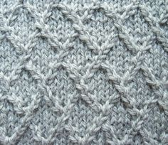 A pattern for the diamond knitting stitch and a photo tutorial to help you make it look great.