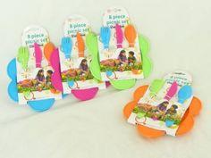 Multi-Color Flower Shape Durable Plastic Picnic Set - 4 Plates, 4 Knives, 4 Spoons, 4 Forks $14
